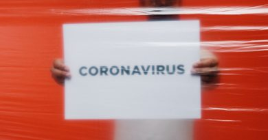 man-holding-a-coronavirus-sign-behind-a-plastic-bag